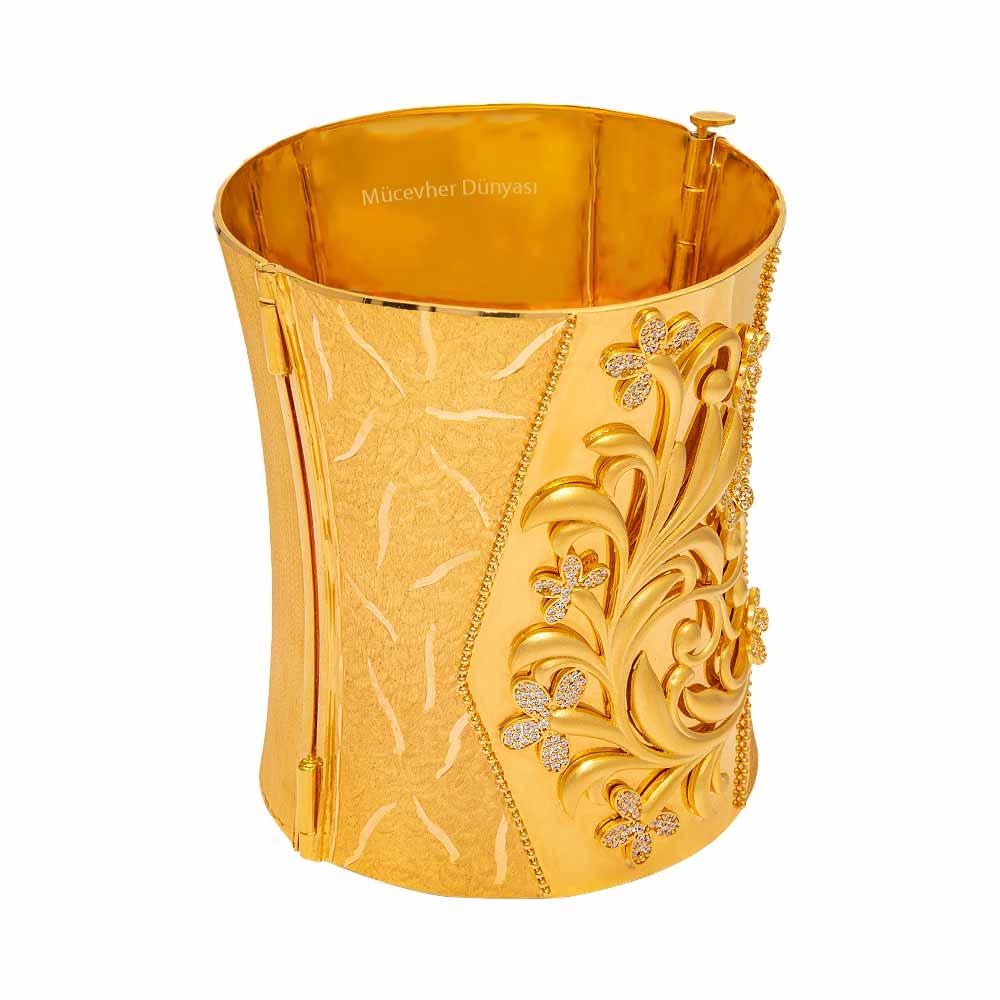 Mücevher Dünyası - 22 Ayar Taşlı Çiçekli Tasarım Mega Altın Kelepçe- 128.22 Gr.