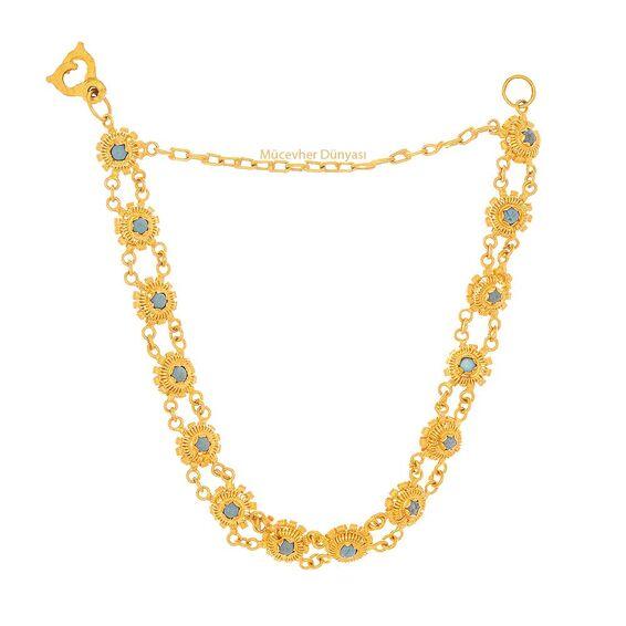 Mücevher Dünyası - 22 Ayar Taşlı Çiçekli Altın Bileklik - 11,37 Gr.