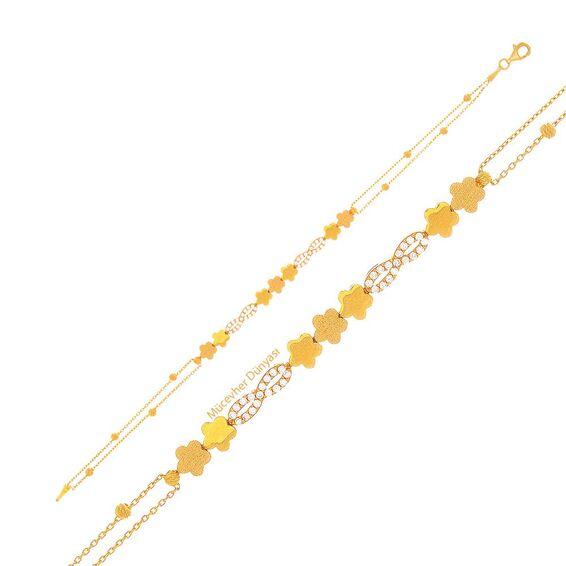 Mücevher Dünyası - 22 Ayar Taşlı Çiçekli Sonsuzluk Altın Bileklik - 4,60 Gr.