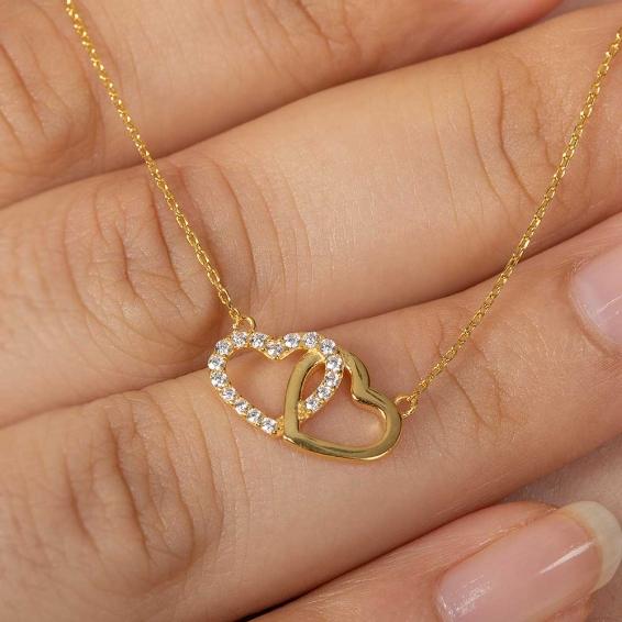 Mücevher Dünyası - 22 Ayar Taşlı Çift Kalp Altın Kolye - 2,46 Gr. - 46 Cm.