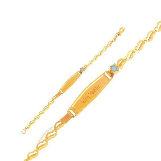 Mücevher Dünyası - 22 Ayar Taşlı Çocuk Altın Künye - 2,45 Gr.