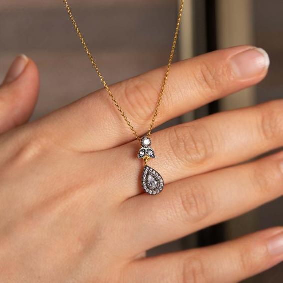 Mücevher Dünyası - 22 Ayar Taşlı Damla Altın Kolye - 3,52 Gr.
