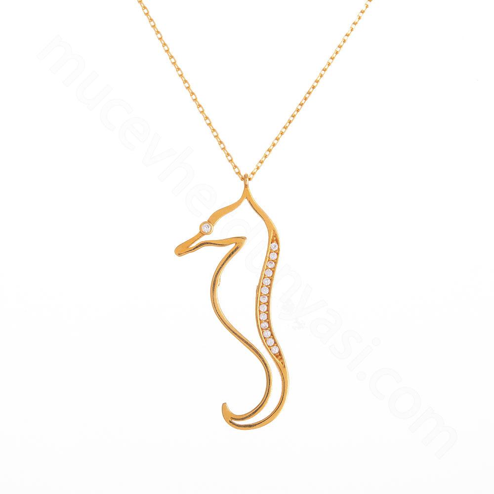 Mücevher Dünyası - 22 Ayar Taşlı Deniz Atı Altın Kolye - 3,55 Gr.