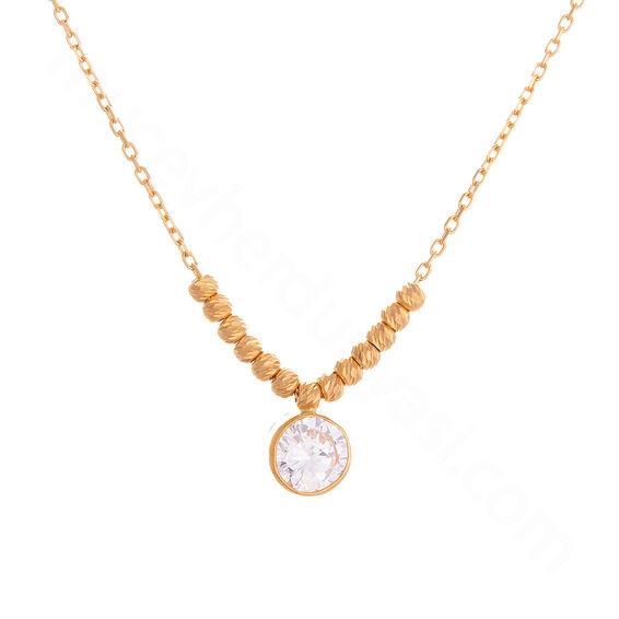 Mücevher Dünyası - 22 Ayar Taşlı Doırika Toplu Tasarım Altın Kolye - 5,61 Gr.