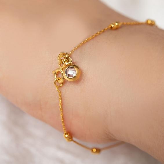 Mücevher Dünyası - 22 Ayar Taşlı Dorika Altın Bileklik - 2,04 Gr. - 18,5 Cm.
