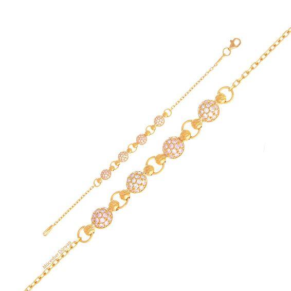 Mücevher Dünyası - 22 Ayar Taşlı Dorika Çocuk Altın Bileklik - 3,85 Gr.
