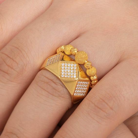Mücevher Dünyası - 22 Ayar Taşlı Dorika Toplu Altın Fantezi Yüzük - 6,02 Gr. - 14