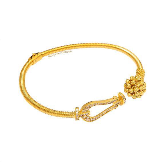 Mücevher Dünyası - 22 Ayar Taşlı Dorika Toplu Altın Kelepçe - 12,60 Gr.