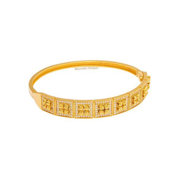 Mücevher Dünyası - 22 Ayar Taşlı Dorika Tasarım Altın Kelepçe - 17,69 Gr.