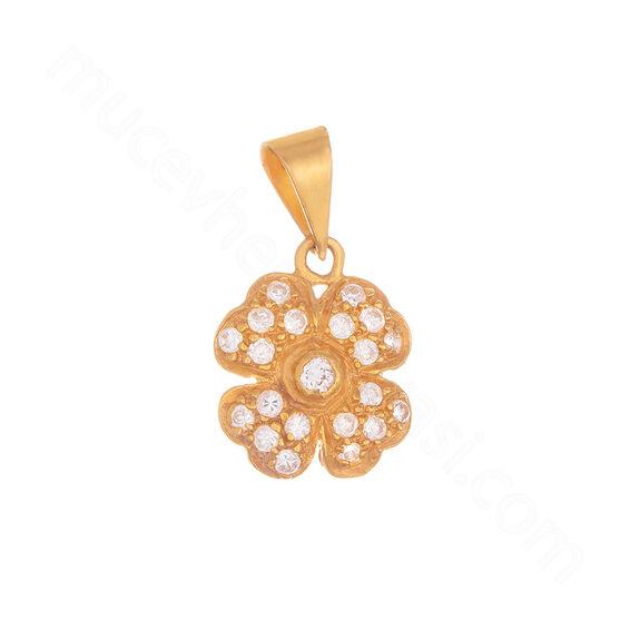 Mücevher Dünyası - 22 Ayar Taşlı Dört Yapraklı Yonca Altın Kolye Ucu - 2,38 Gr.