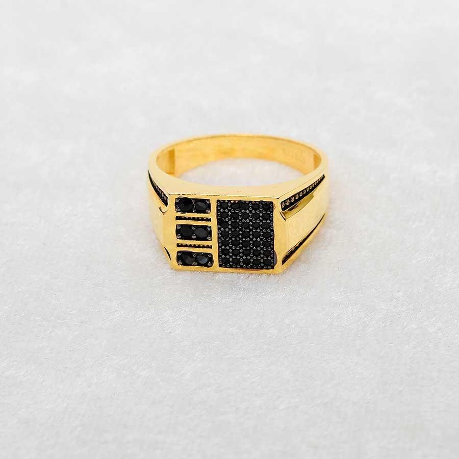 Mücevher Dünyası - 22 Ayar Taşlı Erkek Altın Yüzük - 7.07 Gr.