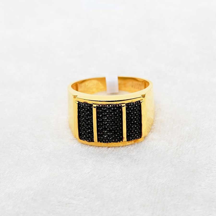 Mücevher Dünyası - 22 Ayar Taşlı Erkek Altın Yüzük - 8.31 Gr.