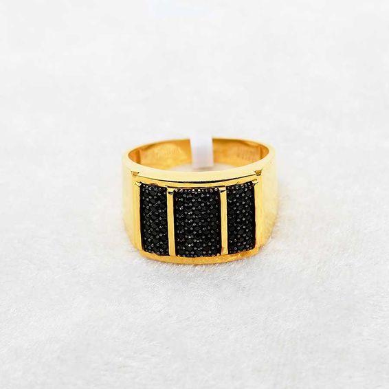 Mücevher Dünyası - 22 Ayar Taşlı Erkek Altın Yüzük - 8,31 Gr.