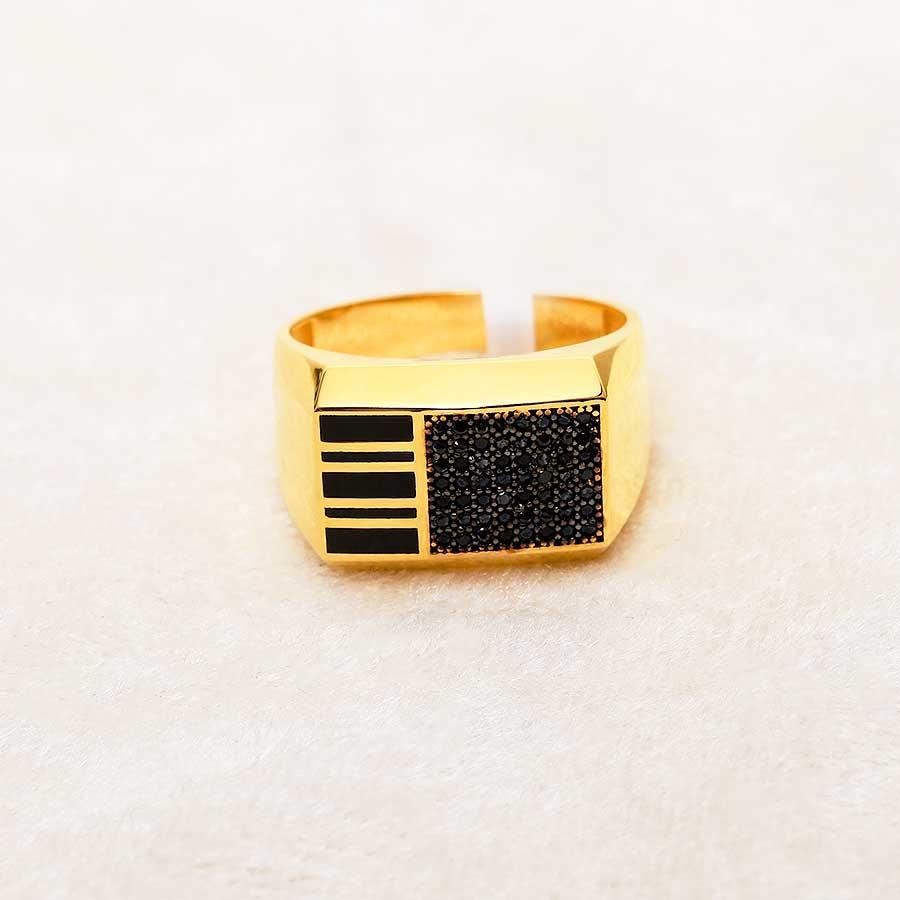 Mücevher Dünyası - 22 Ayar Taşlı Erkek Altın Yüzük - 8.09 Gr.