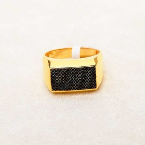 Mücevher Dünyası - 22 Ayar Taşlı Erkek Altın Yüzük - 8.34 Gr.