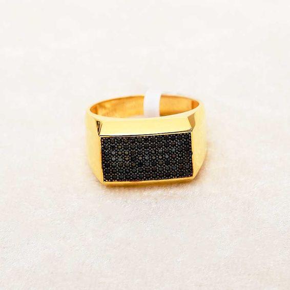 Mücevher Dünyası - 22 Ayar Taşlı Erkek Altın Yüzük - 8,34 Gr.