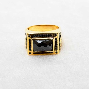 Mücevher Dünyası - 22 Ayar ATATÜRK ve TÜRK BAYRAKLI Taşlı Erkek Altın Yüzük | Mücevher Dünyası