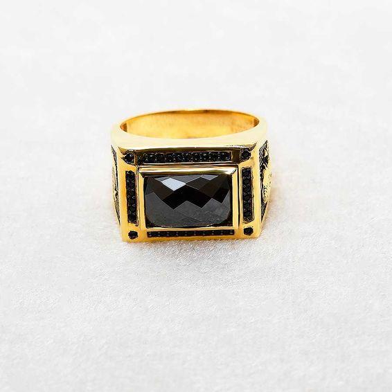 Mücevher Dünyası - 22 Ayar ATATÜRK ve TÜRK BAYRAKLI Taşlı Erkek Altın Yüzük - 16,82 Gr.