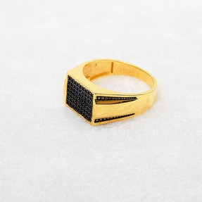 Mücevher Dünyası - 22 Ayar Taşlı Erkek Altın Yüzük | Mücevher Dünyası