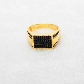 22 Ayar Taşlı Erkek Altın Yüzük   Mücevher Dünyası - Thumbnail
