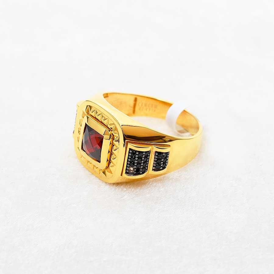 Mücevher Dünyası - 22 Ayar Taşlı Erkek Altın Yüzük - 10.64 Gr.