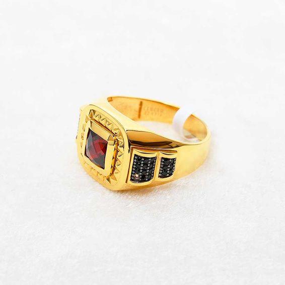 Mücevher Dünyası - 22 Ayar Taşlı Erkek Altın Yüzük - 10,64 Gr.