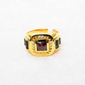 22 Ayar Taşlı Erkek Altın Yüzük | Mücevher Dünyası - Thumbnail