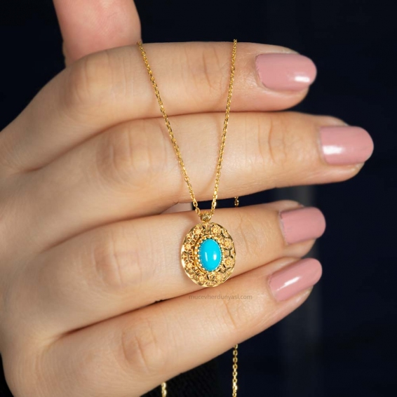 Mücevher Dünyası - 22 Ayar Taşlı Füzyon Altın Kolye - 3,46 Gr.