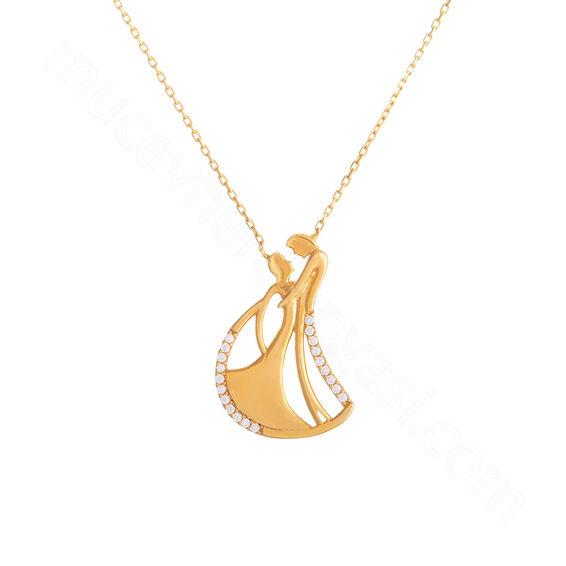 Mücevher Dünyası - 22 Ayar Taşlı Gelin Damat Altın Kolye - 4,17 Gr.