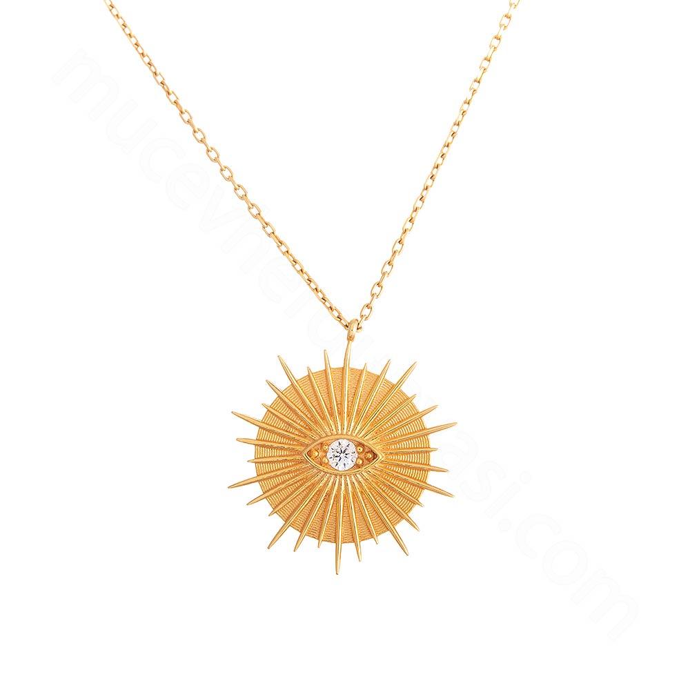 Mücevher Dünyası - 22 Ayar Taşlı Göz Altın Kolye - 3,88 Gr.