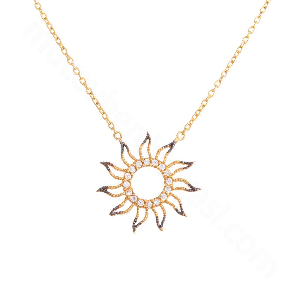 Mücevher Dünyası - 22 Ayar Taşlı Güneş Altın Kolye - 3,54 Gr.