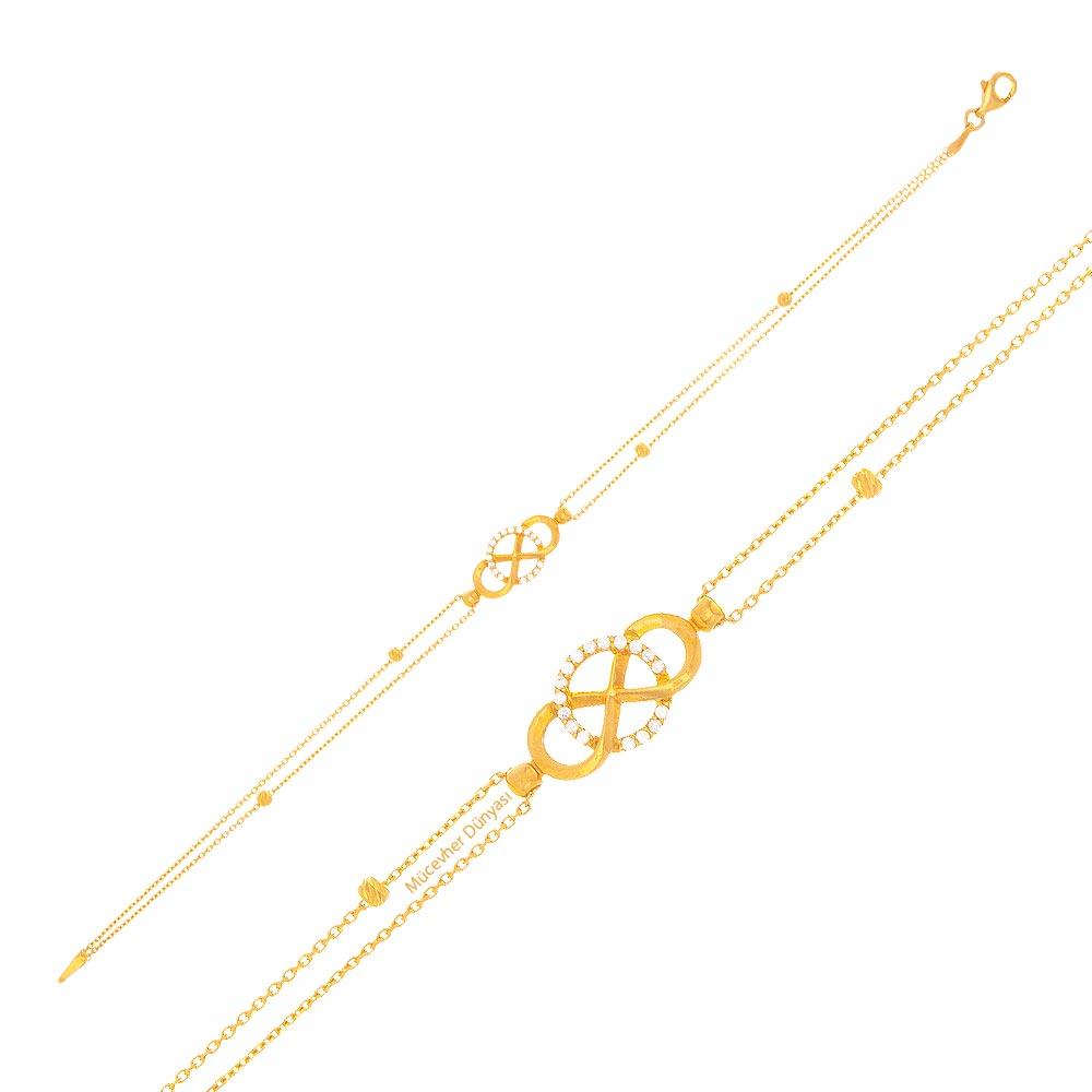 Mücevher Dünyası - 22 Ayar Taşlı Halka ve Sonsuzluk Altın Bileklik - 3,26 Gr.
