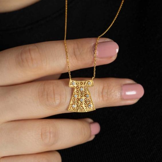 Mücevher Dünyası - 22 Ayar Taşlı Hırka i Şerif Altın Kolye - 3,05 Gr.