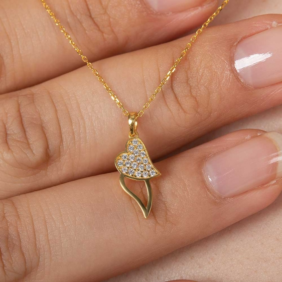 Mücevher Dünyası - 22 Ayar Taşlı İki Kalp Altın Kolye - 2,32 Gr. - 44,5 Cm.