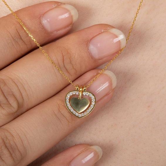 Mücevher Dünyası - 22 Ayar Taşlı İki Kalp Altın Kolye - 2,78 Gr. - 44,5 Cm.