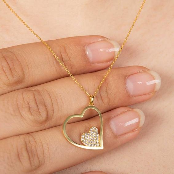 Mücevher Dünyası - 22 Ayar Taşlı İki Kalp Altın Kolye - 2,95 Gr. - 45 Cm.