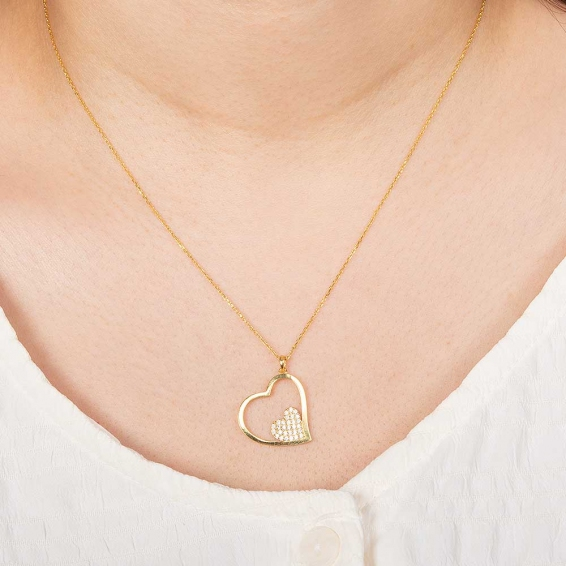 22 Ayar Taşlı İki Kalp Altın Kolye - 2,95 Gr. - 45 Cm.