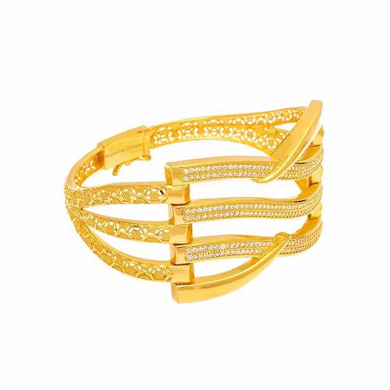 Mücevher Dünyası - 22 Ayar Taşlı Kaburga Altın Kelepçe - 37,09 Gr.