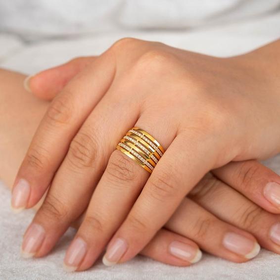 Mücevher Dünyası - 22 Ayar Taşlı Kaburga Altın Yüzük - 8,53 Gr. - 17