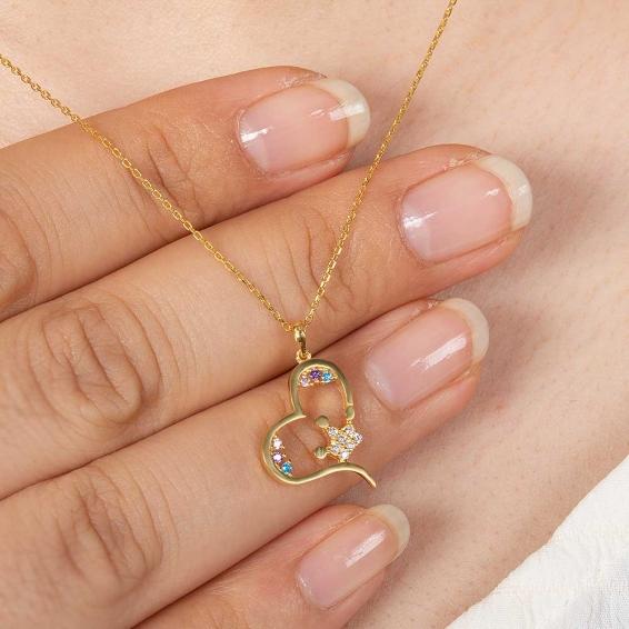 Mücevher Dünyası - 22 Ayar Taşlı Kalp Altın Kolye - 2,76 Gr. - 44,5 Cm.
