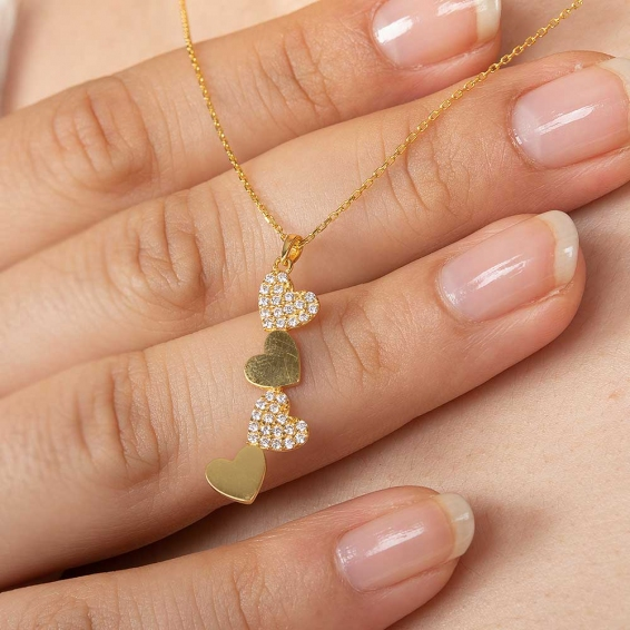 Mücevher Dünyası - 22 Ayar Taşlı Kalp Altın Kolye - 2,87 Gr. - 44,5 Cm.