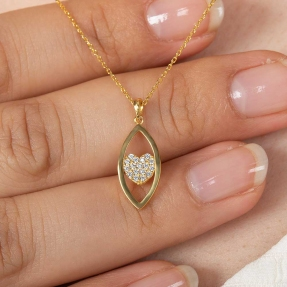 22 Ayar Taşlı Kalp Gözü Altın Kolye - 2,38 Gr. - 44,5 Cm. - Thumbnail