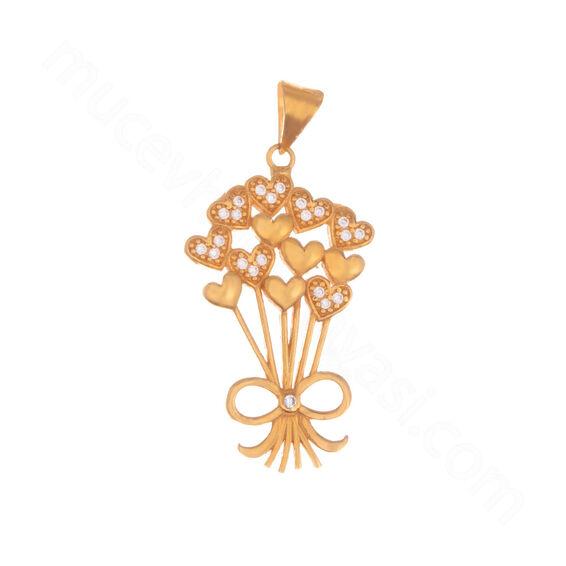 Mücevher Dünyası - 22 Ayar Taşlı Kalp Özel Tasarım Altın Kolye Ucu - 4,05 Gr.