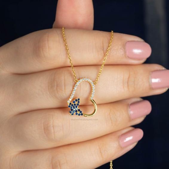 Mücevher Dünyası - 22 Ayar Taşlı Kalp ve Kelebek Altın Kolye - 3,90 Gr.