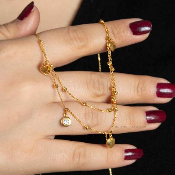 Mücevher Dünyası - 22 Ayar Taşlı Kalpli Dorika Altın Kolye - 5,53 Gr.