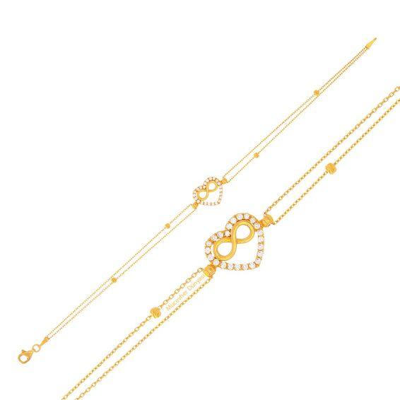 Mücevher Dünyası - 22 Ayar Taşlı Kalpli Sonsuzluk Dorika Altın Bileklik - 3,40 Gr.