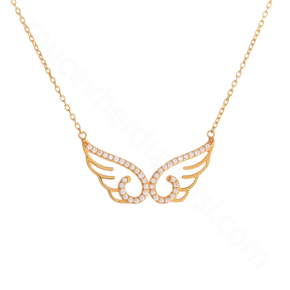 Mücevher Dünyası - 22 Ayar Taşlı Kanat Altın Kolye - 4,11 Gr.