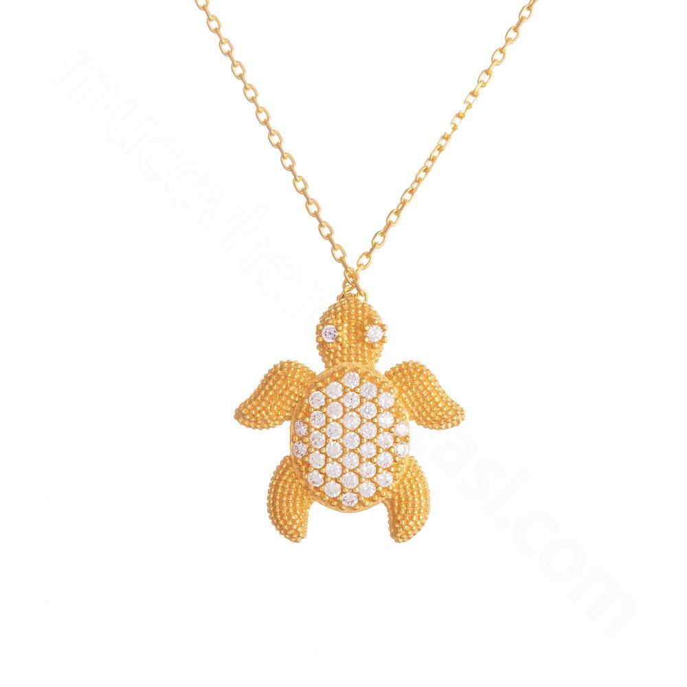 Mücevher Dünyası - 22 Ayar Taşlı Kaplumbağa Altın Kolye - 4,27 Gr.