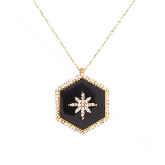 Mücevher Dünyası - 22 Ayar Taşlı Kar Tanesi Altın Kolye - 6,31 Gr.
