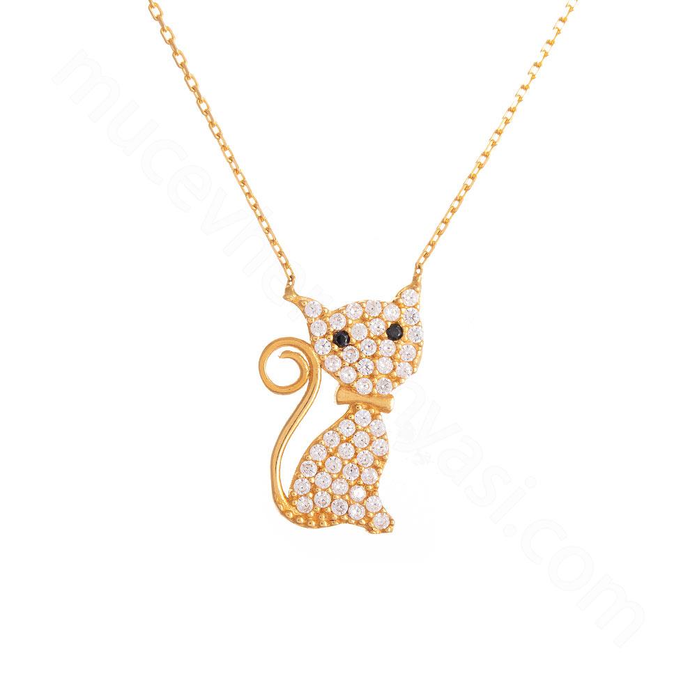 Mücevher Dünyası - 22 Ayar Taşlı Kedi Altın Kolye - 3,68 Gr.
